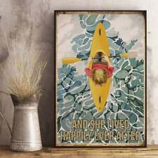 Kayak Girl Poster And She Lived Happily Ever After Poster Vintage Wall Decor Art