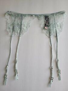 NWT Victoria's Secret Luxe VERY SEXY XS/S Garter Belt Satin & Lace Dusty Blue
