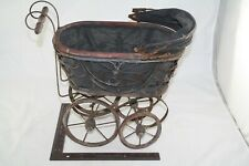 ANTIQUE BABY DOLL CARRIAGE WOODEN WHEEL BUGGY DISPLAY PIECE STROLLER UNIQUE