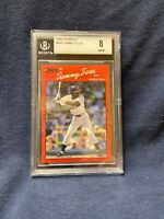 1990 DONRUSS #489 SAMMY SOSA ROOKIE CARD GRADED A 8 BY BECKETT