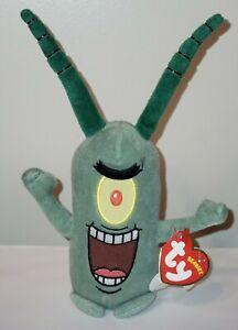 ST* Ty Beanie Baby - SHELDON J. PLANKTON (SpongeBob Squarepants) MWMT (STICKER)