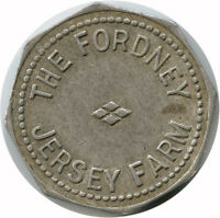 The Fordney Jersey Farm Hemlock, Michigan MI 1 Quart Milk Dairy Trade Token