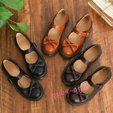 Lolita Girl Faux Leather Mary Janes Oxfords Shoes Uniform JK Bowknot School Shoe