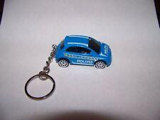 "CUSTOM MADE..FIAT 500 ""POLIZIA"" RACER (BLUE/WHITE) KEYCHAIN..GREAT GIFT!"