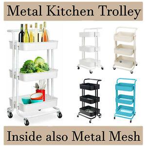 Kitchen Salon Trolley Storage Cart Rack Organiser Wheel With Handle 3Tier