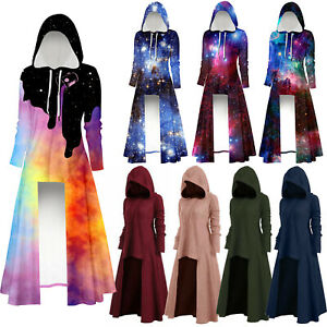 Womens Victorian Steampunk Hooded High Low Hem Tops Gothic Long Coat Robe Galaxy
