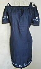 Women's navy blue embroidered bardot summer dress size 10 George