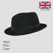 5356ba16c67 Vintage Style Trilby 100% Wool Felt C-Crown Gangster Fedora Hat Black