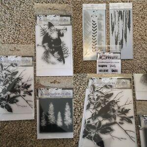 Assorted Imagination Crafts Mixed Media Art Stencils Rubber Stamp Bundle