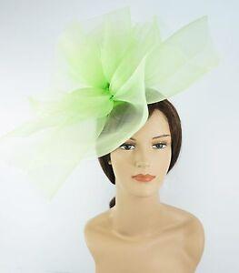 New Church Derby Wedding Fascinator Dress Hat with Headband FS-02 Lime Green