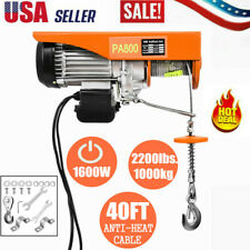 2200lbs 110v Electric Wire Hoist Winch Crane Lift 40ft With Wired Remote Control