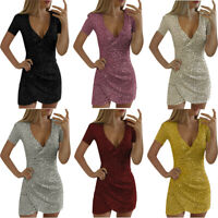 Womens Sexy V-neck Short Sleeve Sparkly Sequin Slim Elegant Party Sheath Dress
