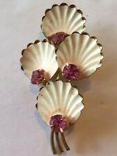 Made In AUSTRIA Enameled Pink Rhinestone Brooch Pin Vintage ESTATE Jewelry
