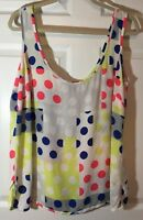 City Chic White Multi Polka Dot Sleeveless Blouse Top, Plus Size XS (14)