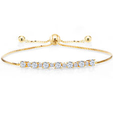 18K Yellow Gold Plated Silver Bracelet Created Sapphire Created Moissanite Very