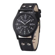 Armbanduhr Datum Herrenuhr schwarz Analog Herren Jungen Leder Business Uhr 25cm