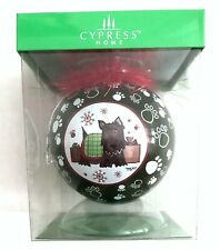 Cypress Home Christmas TERRIER DOG Glass BALL Tara Reed Ornament New NIB New NIB