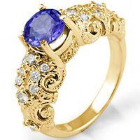 1.40 Ct Round Tanzanite Solitaire Engagement Diamond Ring 14k Gold Yellow VS1