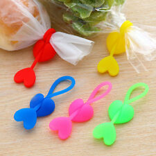 2pcs Heart shaped Silicone Food Bag Sealing Clips Beam Ports Bundled Cable Tie
