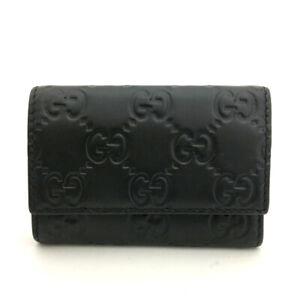 GUCCI Shima GG Logo Black  Leather 6 Key Case /F0743