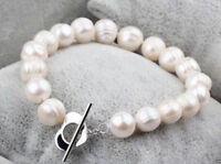 9-10MM White Baroque Freshwater Cultured Pearl Bracelet Bangle 7.5''