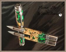 Handmade Rare Burl Wood Writing Rollerball Or Fountain Pen Beautiful Art 748