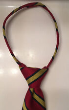 Talbots Boy's Zipper Neck Tie Red Navy Blue & Gold Stripes 100% Silk 14 1/4� L