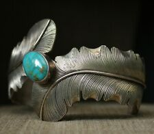 Native American Navajo Turquoise Sterling Silver Cuff Bracelet Large Size