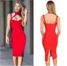 Celebrity Style red Elastizado vestido ceñido al cuerpo de Reino Unido, S, M, L