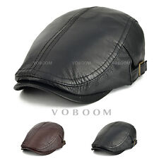 22cca41b709 Men s 100% Lambskin Leather Ivy Cap Winter Hat Warm Gatsby Newsboy Cap  Cabbie
