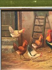 Vintage oil on board farm scene With  chickens by listed artist H V Tankeren
