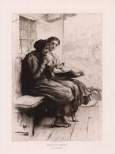 "1800s Original HERKOMER Etching ""Young Girl Giving Comfort"" Signed Framed COA"