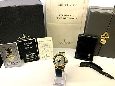 18k SUPER RARE Limited Edit CORUM Meteorite Solid Gold Moonphase Date MINT Watch