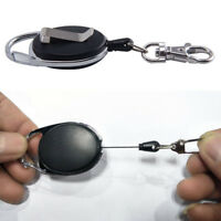 Retractable Extendable Key Chain Belt Recoil Key-Ring Cord Wire Ring Pull New