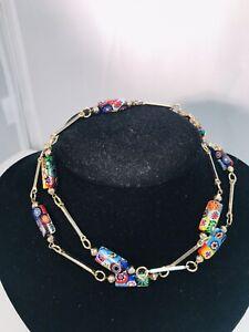 Vintage Murano Millefiori Rectangular Glass Bead Necklace