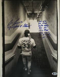 """JOSE CANSECO """"GODFATHER OF STEROIDS"""" SIGNED RARE 11x14 PHOTO AUTO 8 INSCRIPTIONS"""