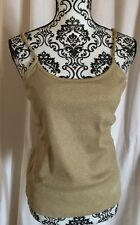 NEW Bamboo Traders Women's Tank Top W CHAIN ACCENTS , size L, GOLD METALLIC