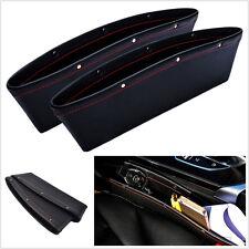 2 X Negro Cuero PU Caja de receptor coche vehículo asientos Brecha Bolsillo de almacenamiento a prueba de fugas