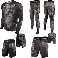 Velo Compression Mma Shorts Training Leggings Rash Guard Mma Fitness Exercise