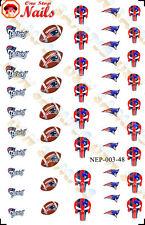 48pcs New England Patriots Nail Art Decals Stickers Transfers. NFL NEP003-48