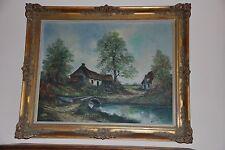 Peinture sur toile Paysage  - Signée - Cadre ancien 1950
