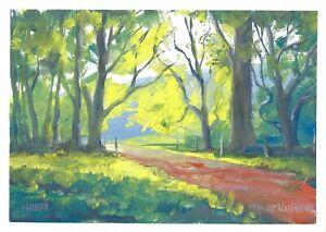 original painting A3 217MA art impressionism Gouache landscape forest park
