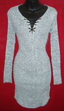 DEREK HEART WOMEN'S LONG SLEEVE LACE UP FRONT DRESS SIZE STRETCHY MEDIUM NWT