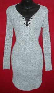 DEREK HEART WOMEN'S LONG SLEEVE LACE UP FRONT DRESS SIZE STRETCHY MEDIUM NWT