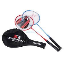 Pair of 2x Players Beginner Badminton Racquets Iron Alloy Racket Light Cover Bag