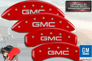 """2015-2020 """"GMC"""" Canyon Front + Rear Red Engrave MGP Brake Disc Caliper Covers 4p"""
