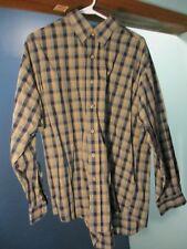 L tan/black LONG SLEEVE BUTTON UP PLAID shirt by VAN HEUSEN
