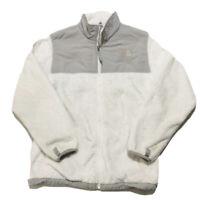 THE NORTH FACE Girls Denali Fuzzy Fleece Jacket White Gray Sz XL