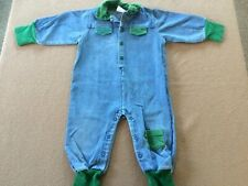 Toddler boy Small Steps outfit jean romper size 18 months blue long sleeves