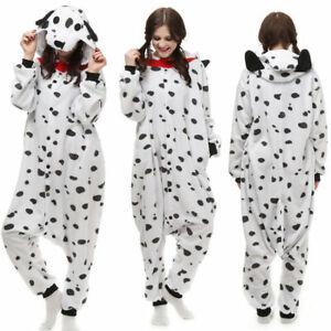 Onesie01 Sleepwear Dalmatian Costume Pajamas Fancy Dress Unisex Adult JumpsuitAL